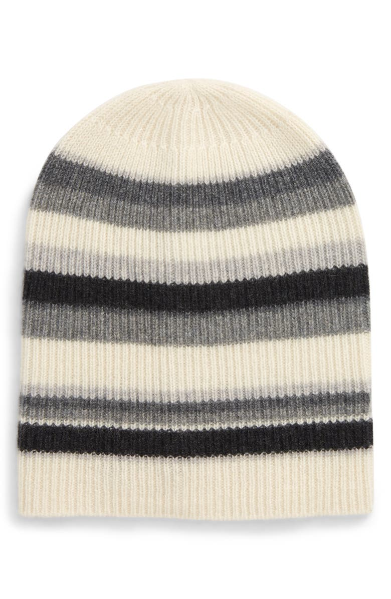 HALOGEN<SUP>®</SUP> Cashmere Striped Beanie, Main, color, 020