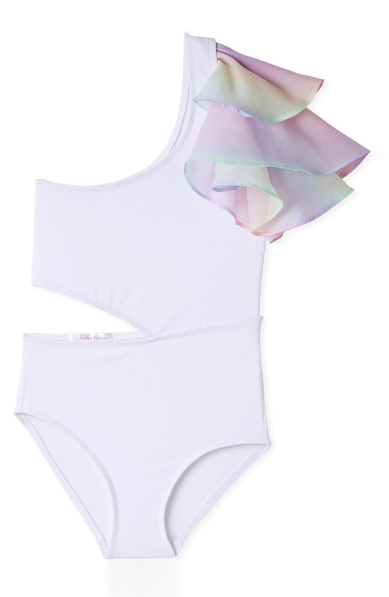 STELLA COVE Side Cutout Ruffle One-Shoulder One-Piece Swimsuit, Main, color, 100