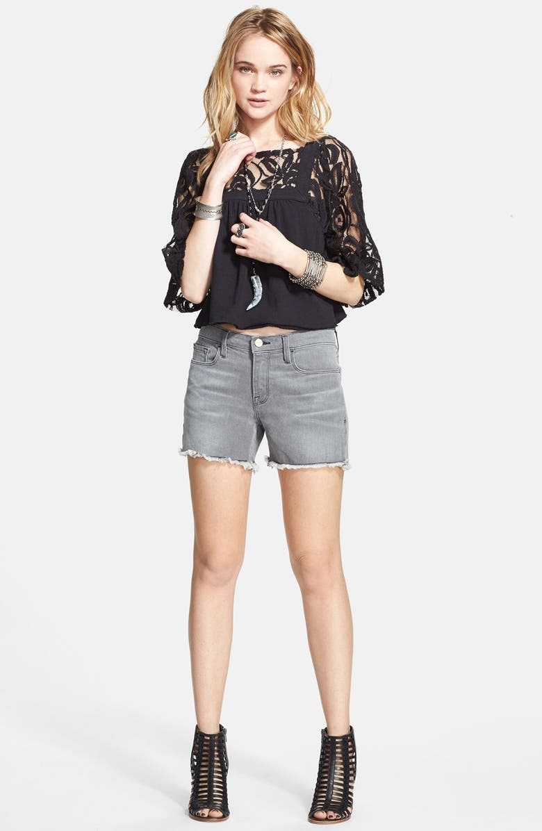 FREE PEOPLE 'Catalina' Lace & Knit Top, Main, color, Black