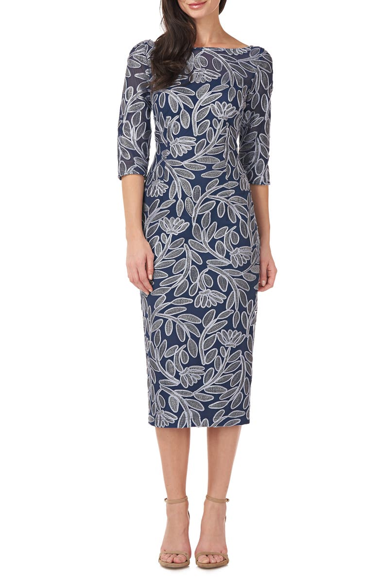 JS COLLECTIONS Floral Embroidered Cocktail Sheath, Main, color, NAVY/ SKY