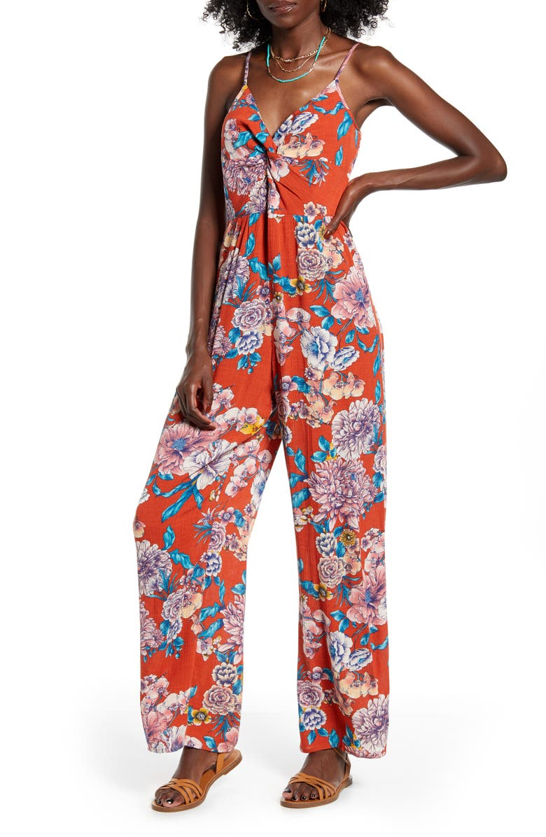 BAND OF GYPSIES Dahlia Print Jumpsuit, Main, color, 950