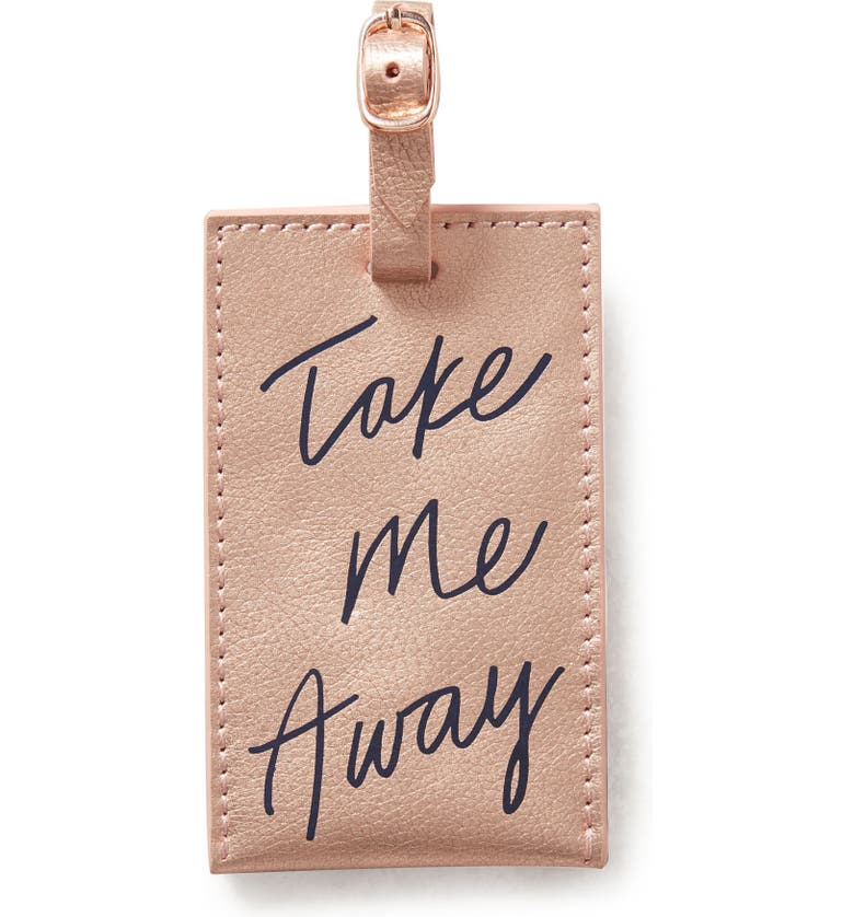 ANTHROPOLOGIE HOME Anthropologie Take Me Away Leather Luggage Tag, Main, color, 650