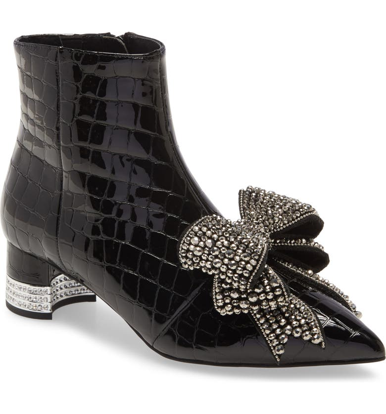 JEFFREY CAMPBELL Luci Embellished Bow Bootie, Main, color, BLACK CROCO PATENT SILVER