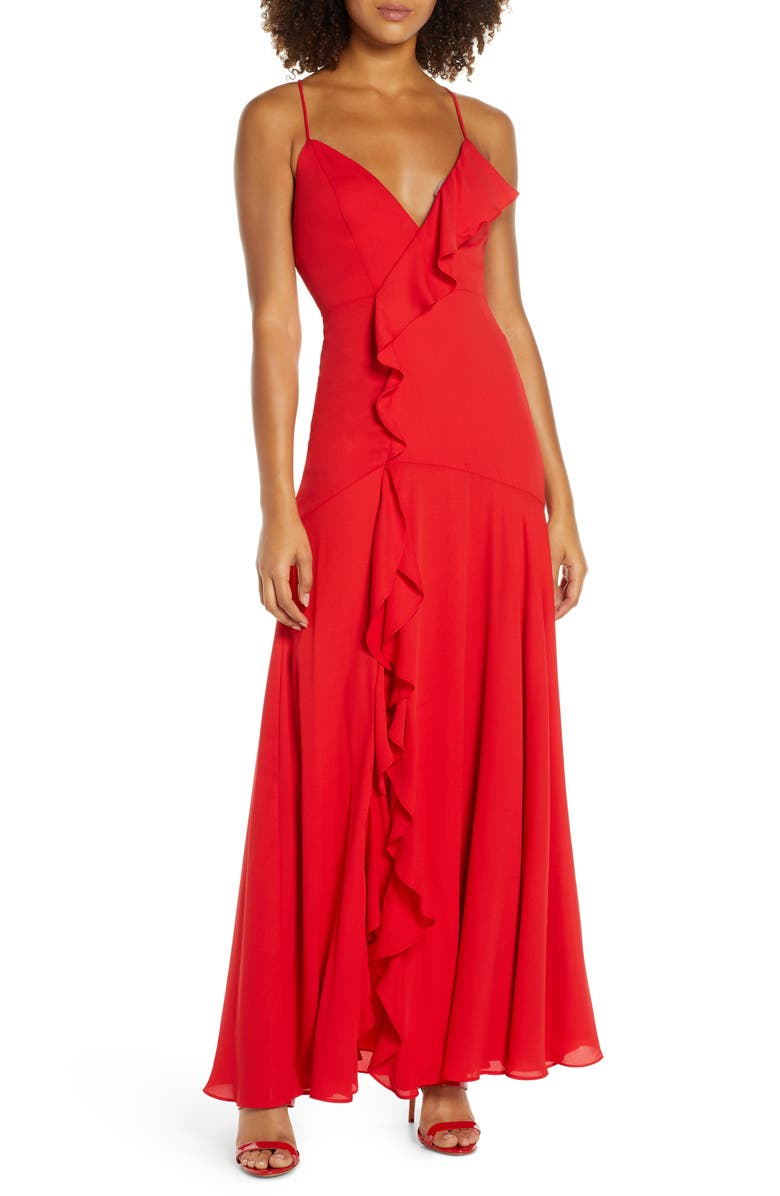 FAME AND PARTNERS Callais Ruffle Gown, Main, color, 600