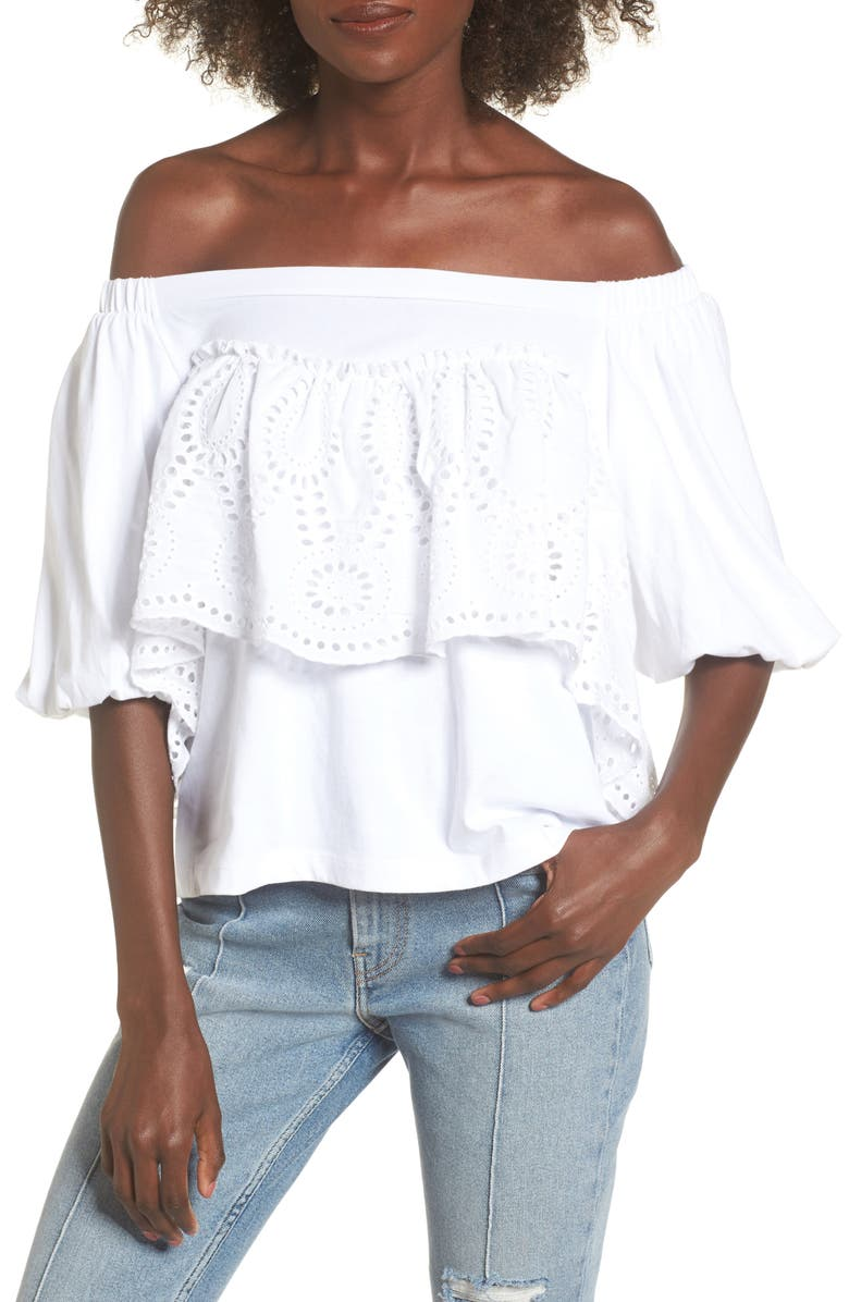 BP. Eyelet Ruffle Off the Shoulder Top, Main, color, 100