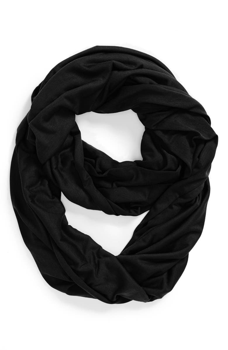 TASHA 'Two Timer' Jersey Infinity Scarf, Main, color, Black