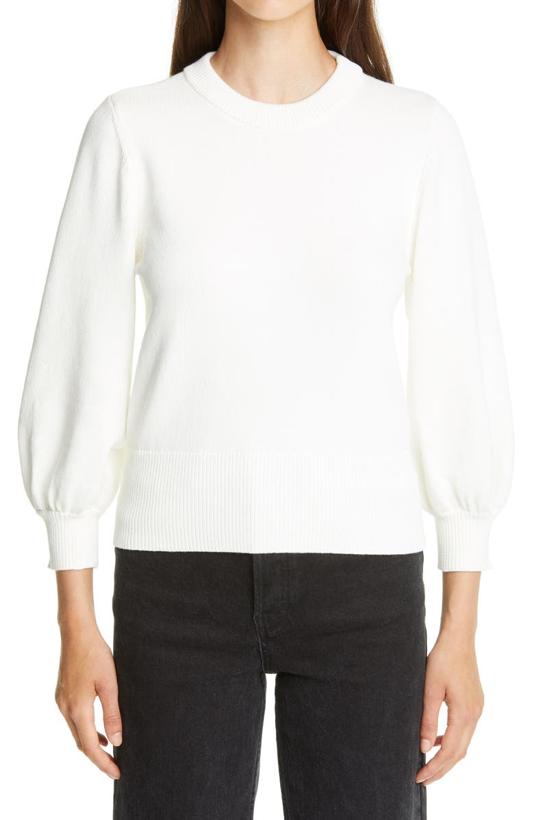 CO Bishop Sleeve Cotton Blend Sweater, Main, color, 100
