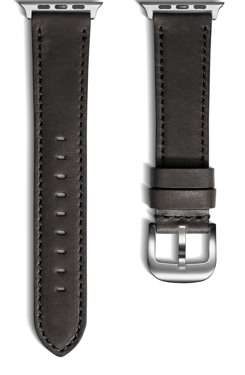 SHINOLA 20mm Leather Apple Watch<sup>®</sup> Strap, Main, color, BLACK