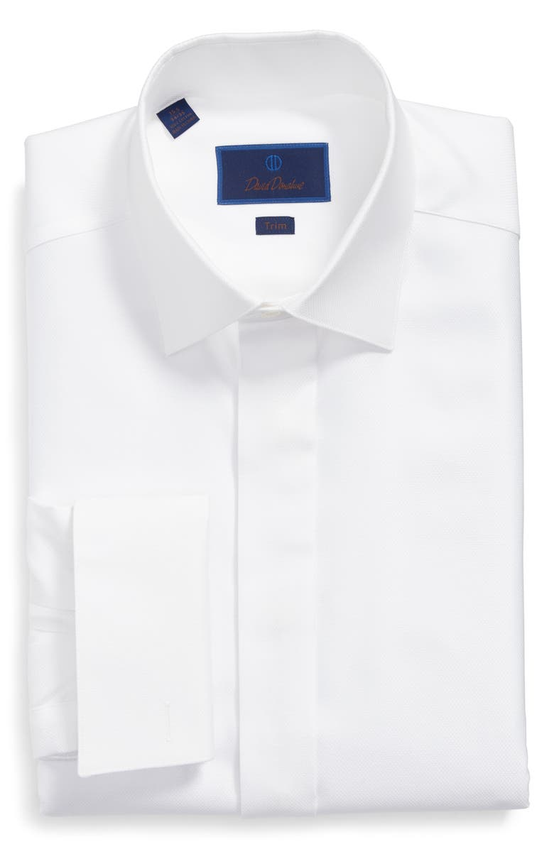 DAVID DONAHUE Trim Fit French Cuff Tuxedo Shirt, Main, color, WHITE