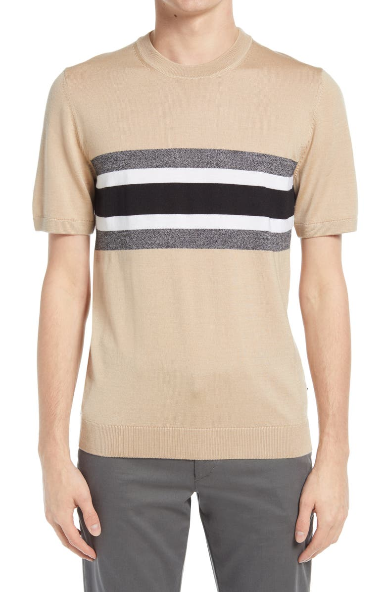 BOSS Manni Stripe Short Sleeve Sweater, Main, color, BLACK