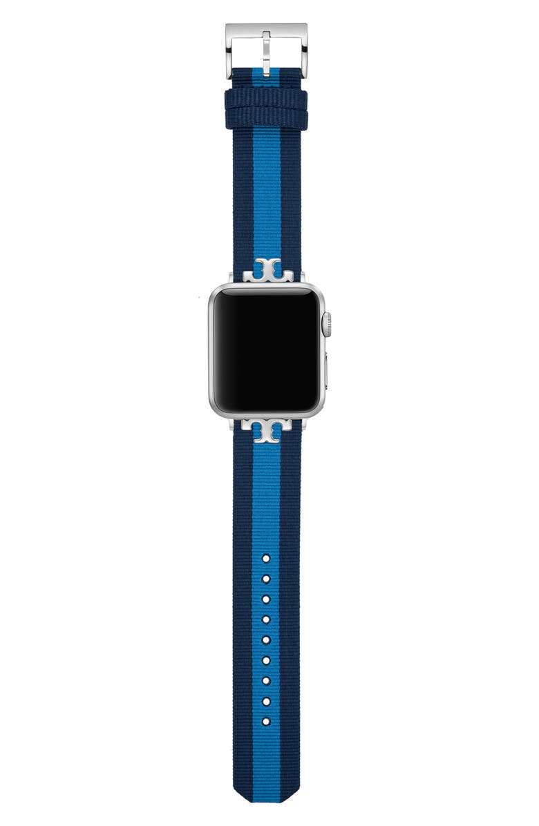 TORY BURCH The Serif-T Stripe Strap for Apple Watch<sup>®</sup>, 38mm/40mm, Main, color, Blue