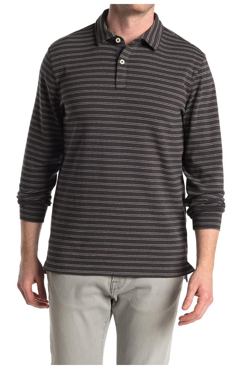 THE NORMAL BRAND Puremeso Striped Long Sleeve Polo, Main, color, CHARCOAL