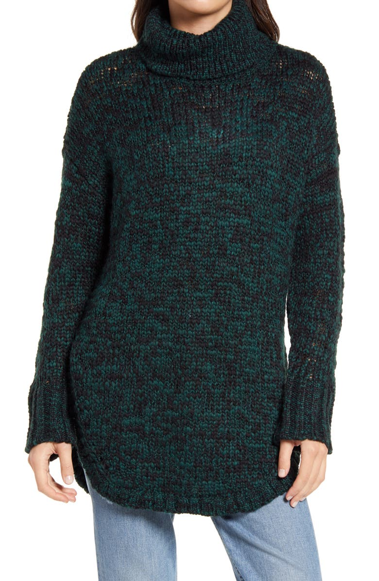 TREASURE & BOND Turtleneck Sweater, Main, color, GREEN PONDEROSA- BLACK COMBO