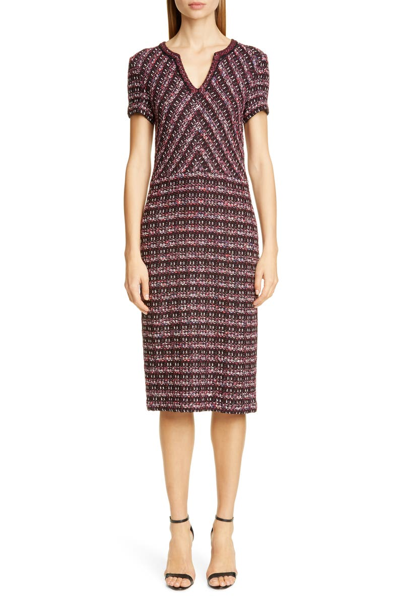 ST. JOHN COLLECTION Multi Tuck Tweed Sweater Dress, Main, color, 930