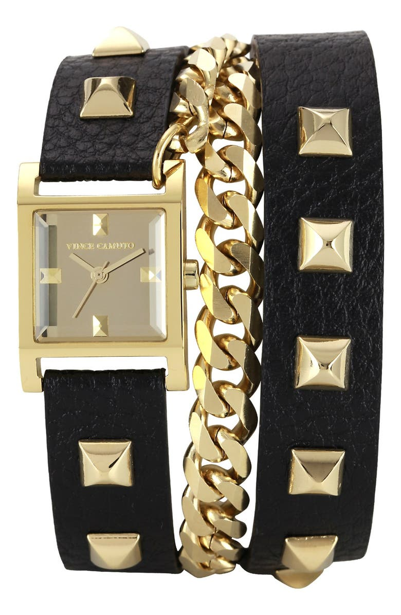 VINCE CAMUTO Double Wrap Chain & Leather Strap Watch, 21mm, Main, color, 001