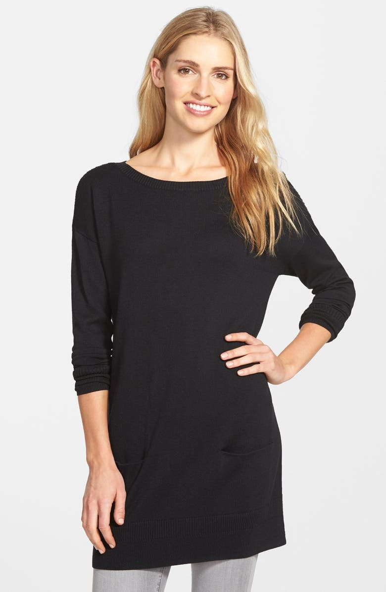 CASLON<SUP>®</SUP> Two-Pocket Knit Tunic, Main, color, 001