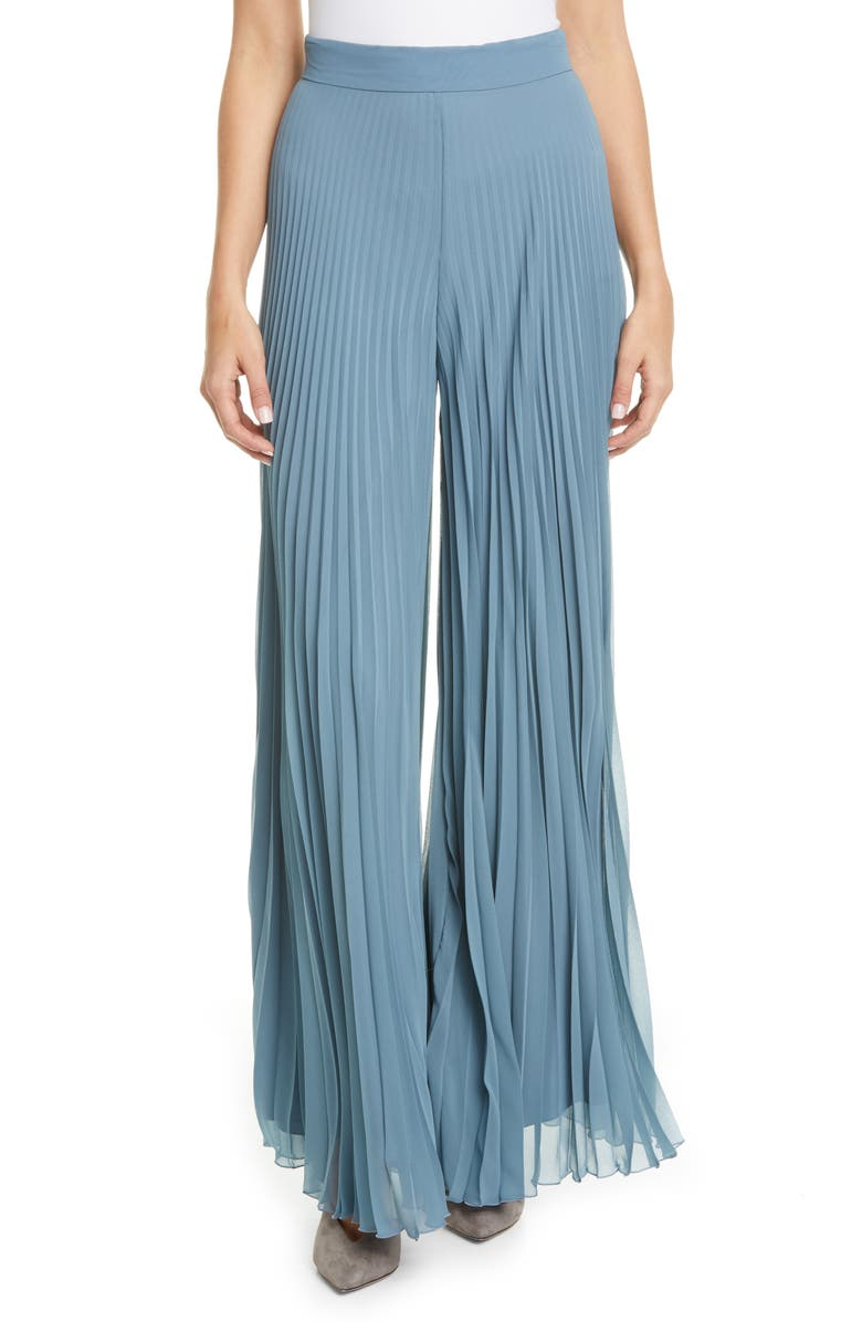 MAX MARA Pagode Pleated Georgette Pants, Main, color, 421
