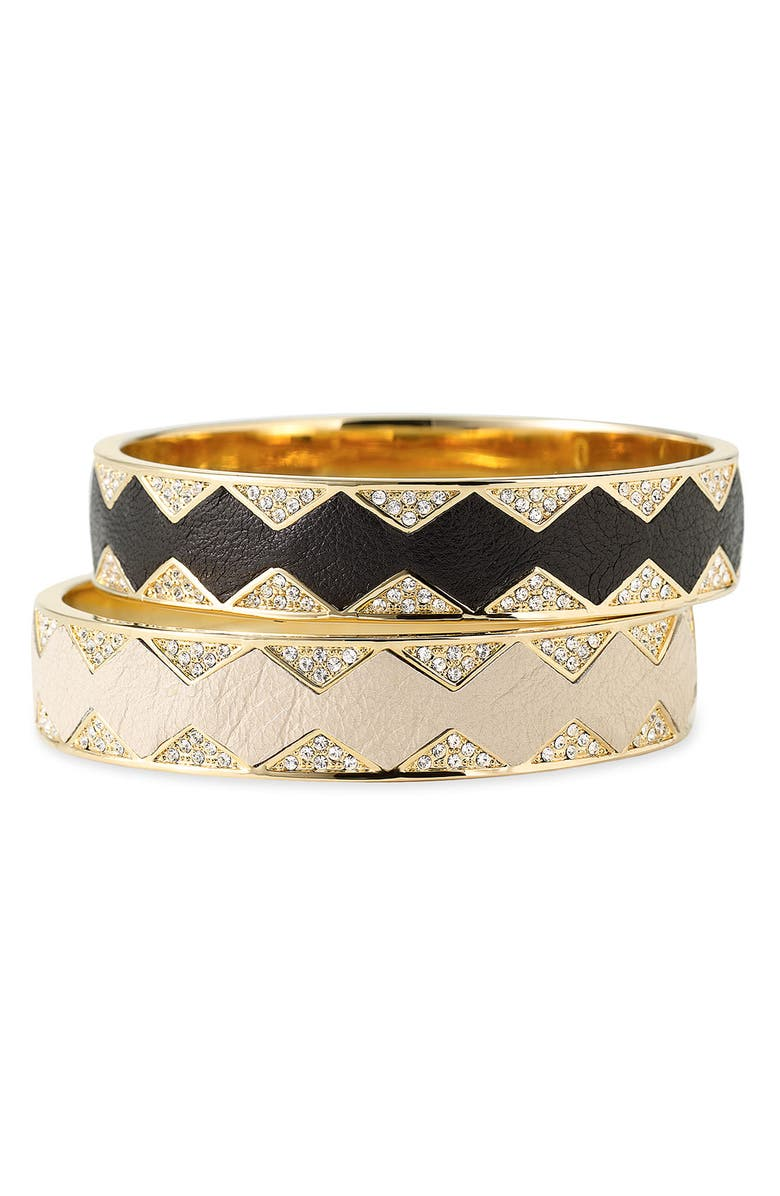 HOUSE OF HARLOW 1960 Leather Bangle, Main, color, 001