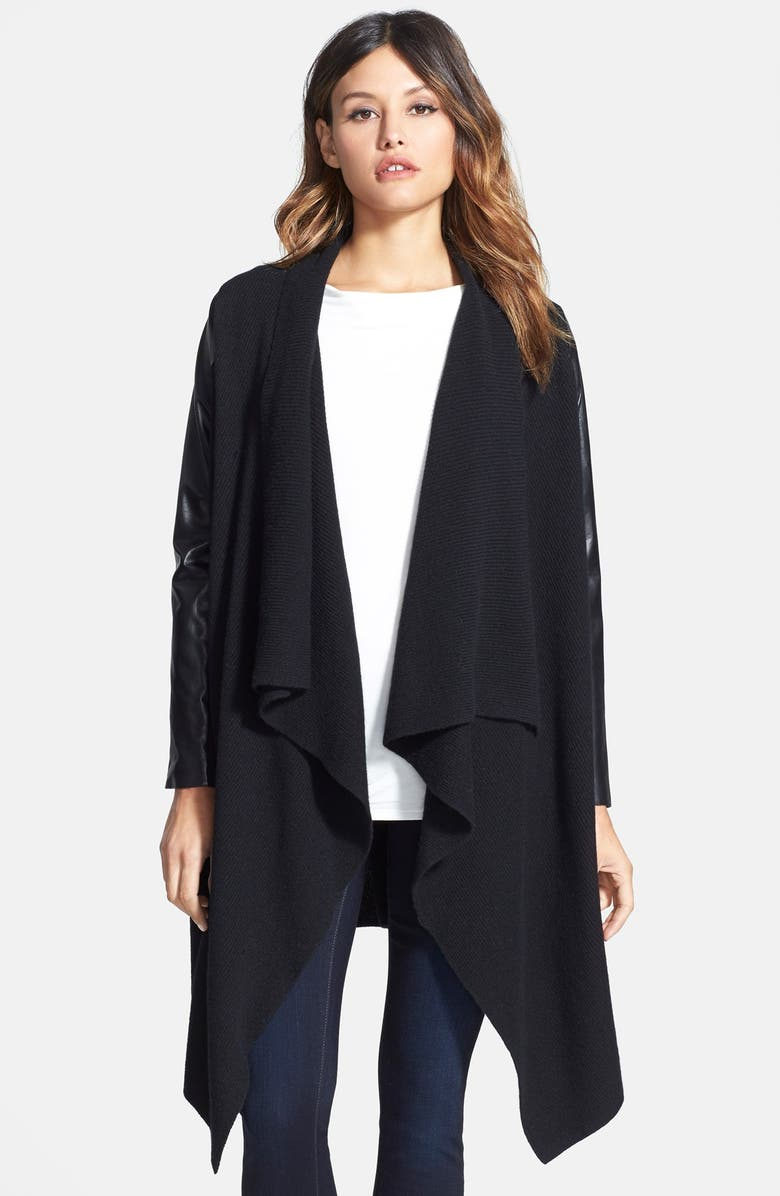 NORDSTROM COLLECTION Cashmere & Leather Sweater Coat, Main, color, 001