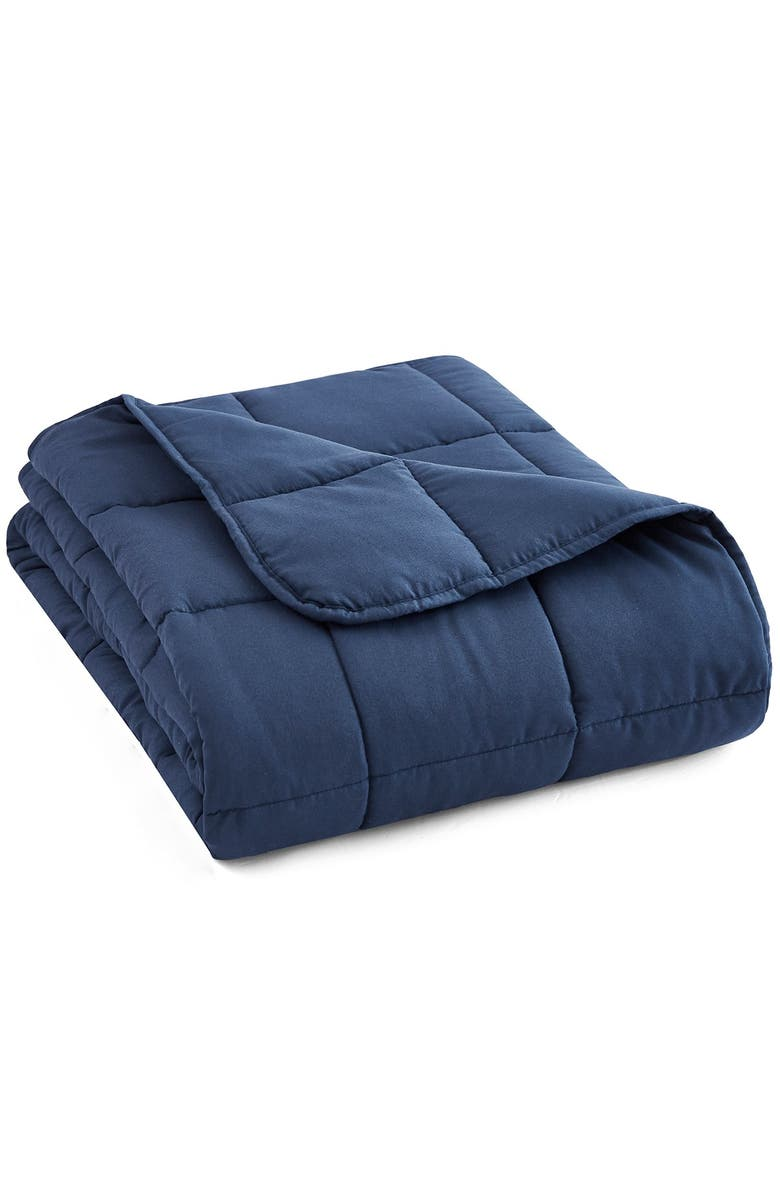 """PUR SERENITY 12 lbs Microfiber Weighted Blanket 48x72"""" - Navy, Main, color, NAVY"""