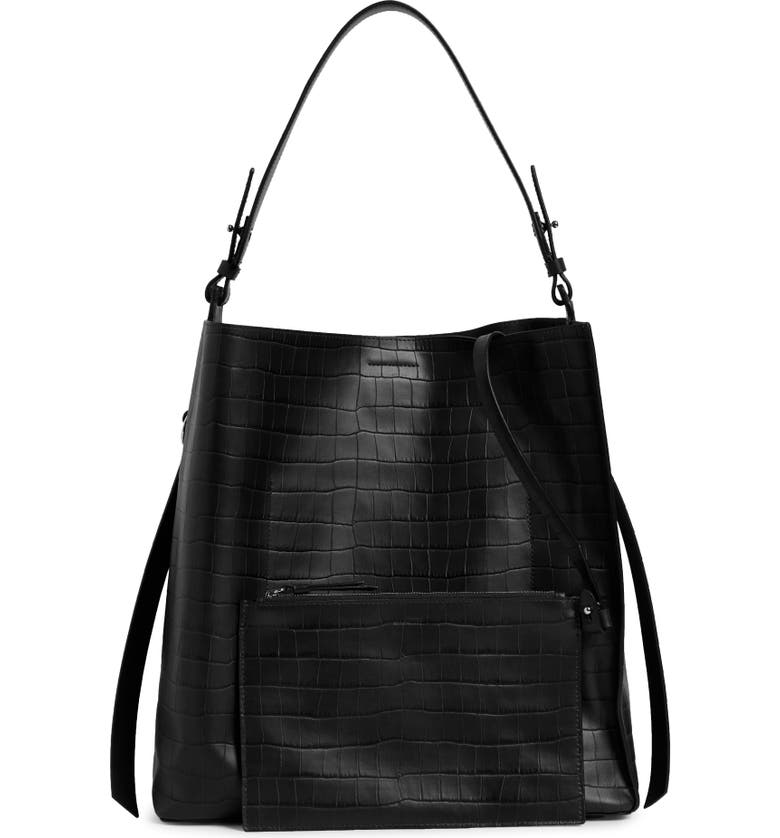 ALLSAINTS Polly Croc Embossed Leather North/South Tote with Removable Pouch, Main, color, 001
