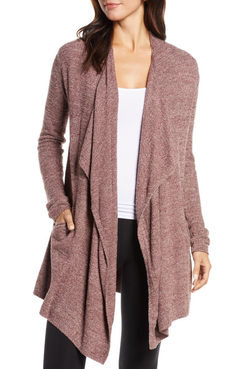BAREFOOT DREAMS<SUP>®</SUP> CozyChic<sup>™</sup> Lite Island Cardigan, Main, color, HE-ROSEWOOD/ FADED ROSE