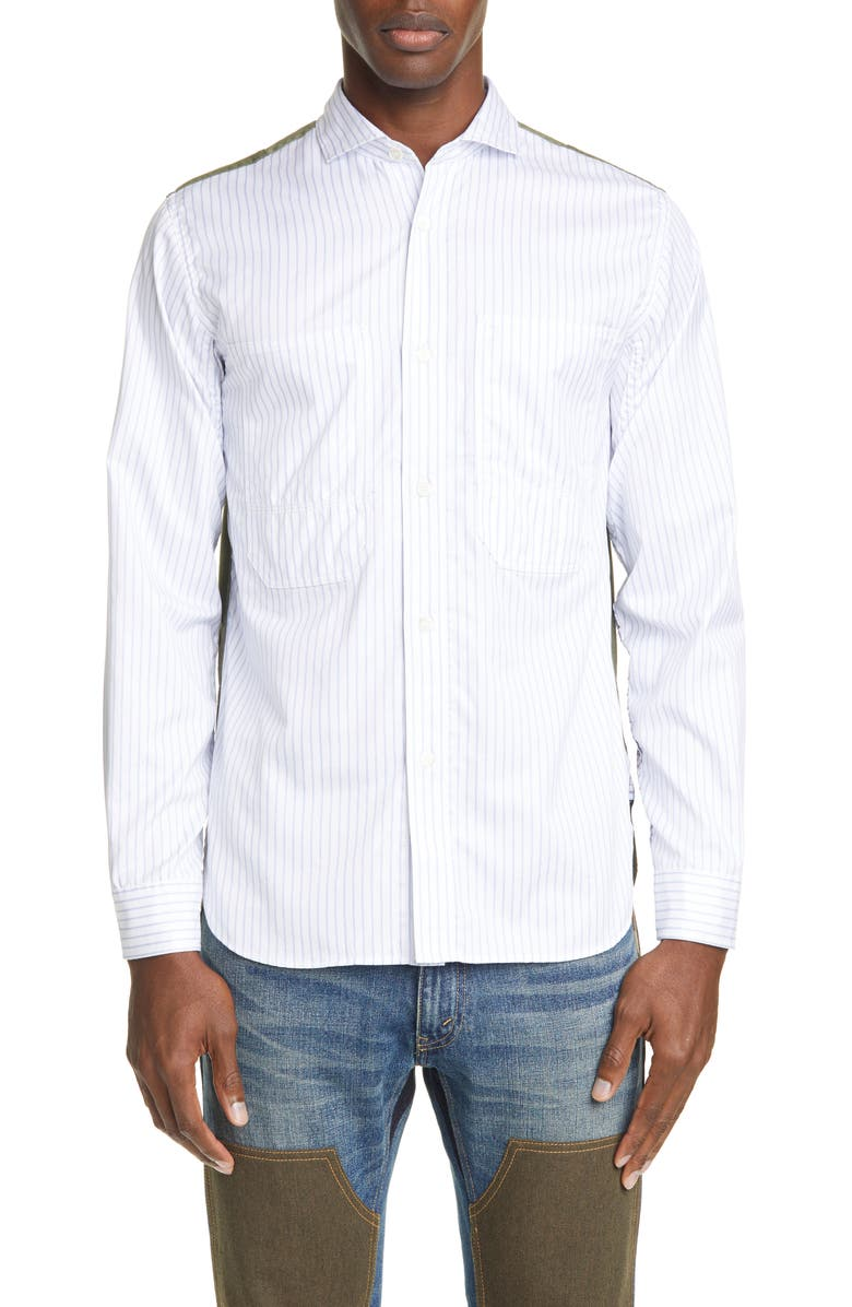 JUNYA WATANABE Contrast Back Stripe Long Sleeve Button-Up Shirt, Main, color, 250