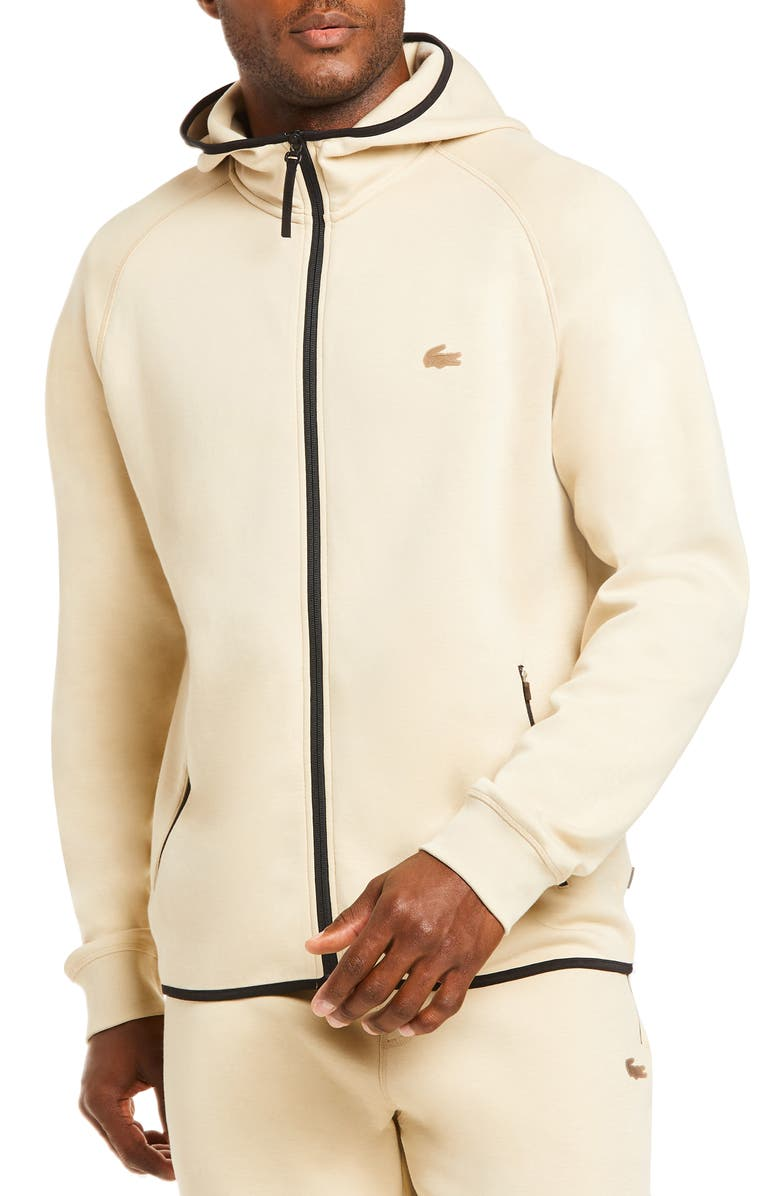 LACOSTE Motion Regular Fit Zip Hoodie, Main, color, SHELL BEIGE