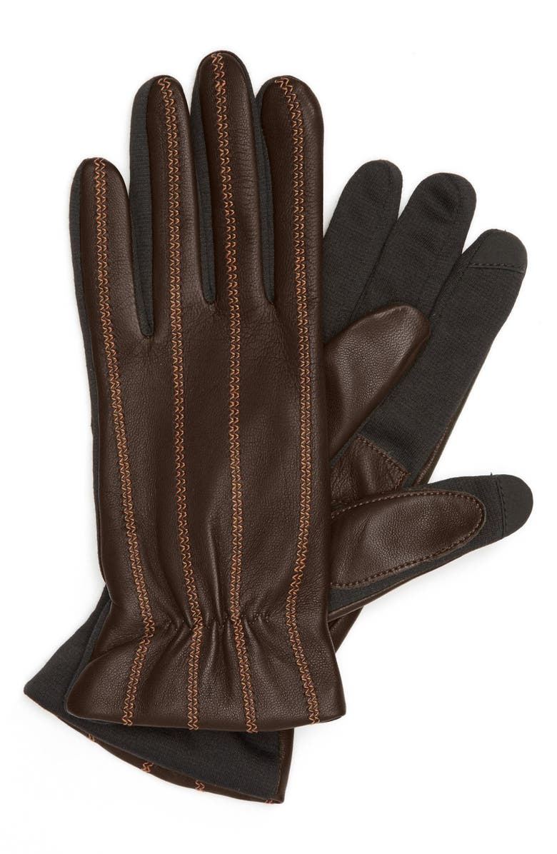 FOWNES BROTHERS Tech Fingertip Leather Gloves, Main, color, 928