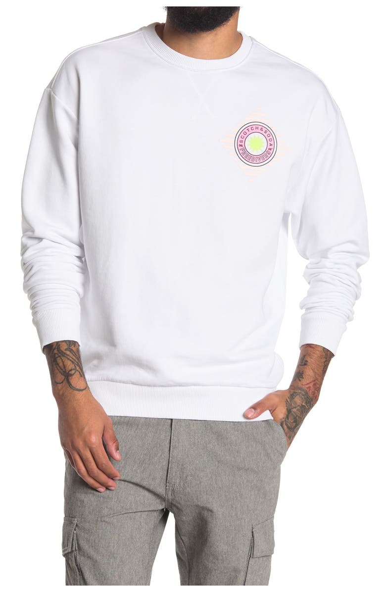 SCOTCH AND SODA Relaxed Crew Neck Sweatshirt, Main, color, WHITE