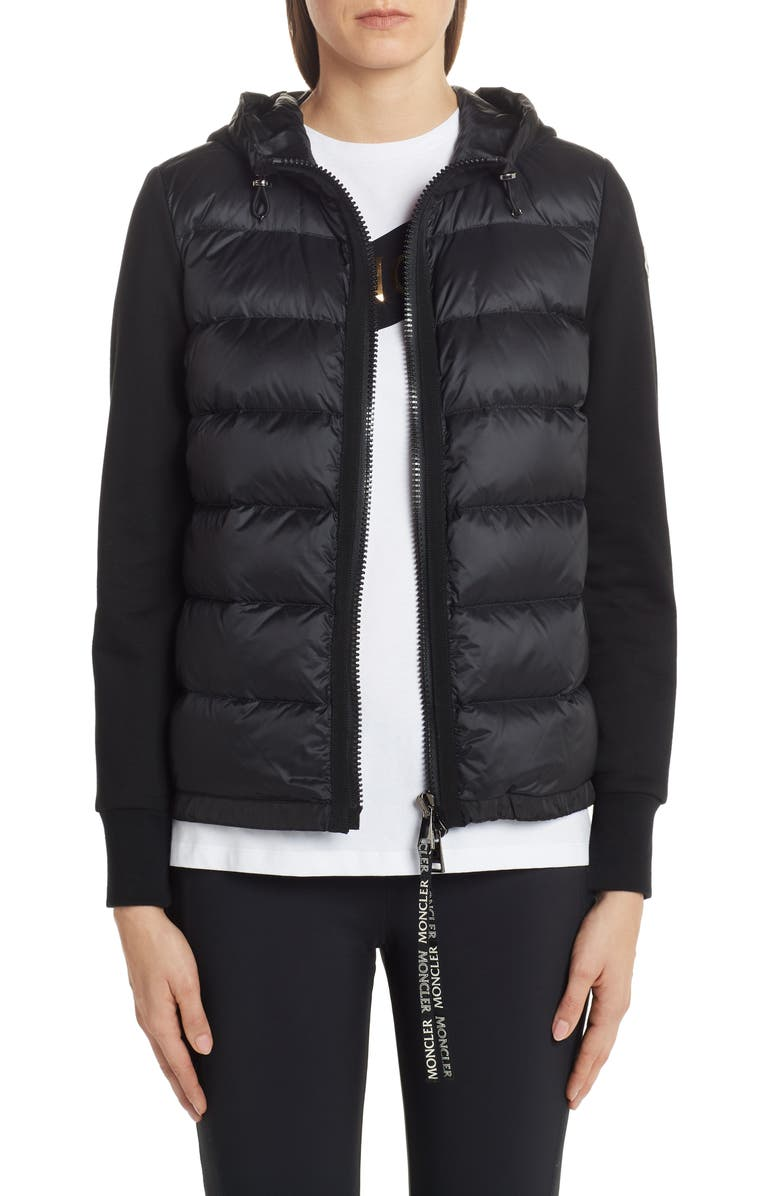 MONCLER Quilted Down Front Hooded Cardigan, Main, color, 001