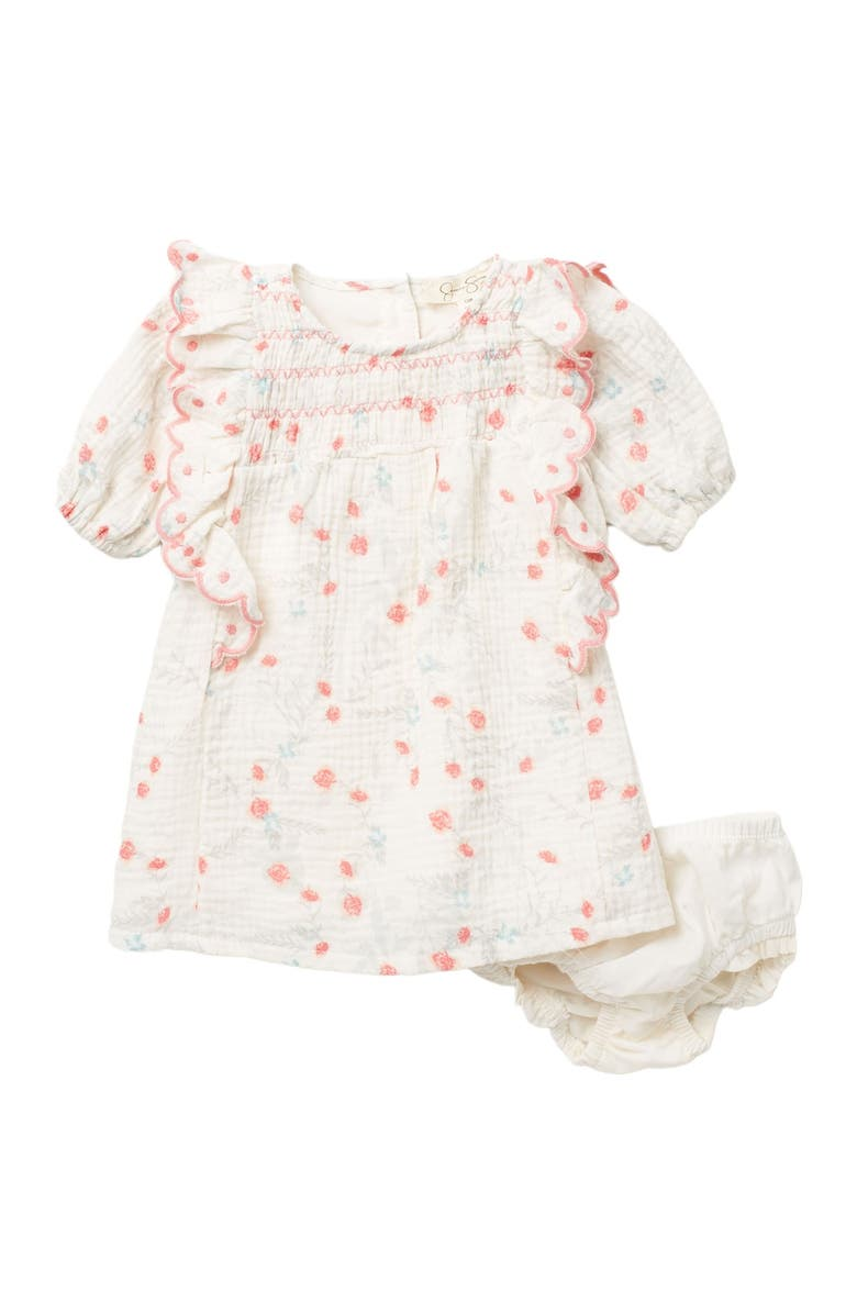 JESSICA SIMPSON Crew Neck Smocked Dress, Main, color, FLORAL
