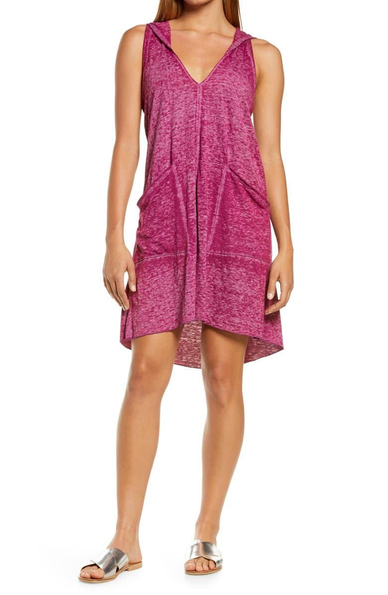BECCA Beach Date Hooded Cover-Up Dress, Main, color, BERRY