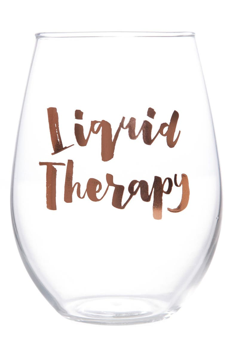 SLANT COLLECTIONS 'Liquid Therapy' Stemless Wine Glass, Main, color, ROSE GOLD