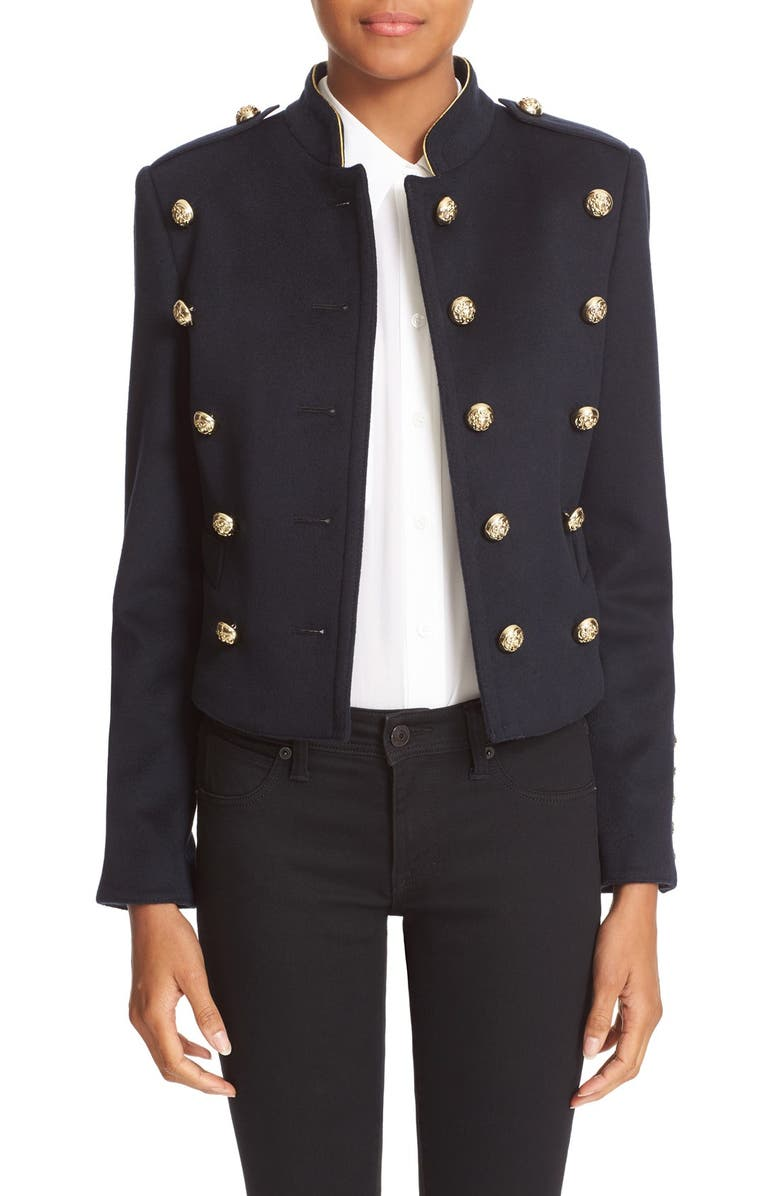 BURBERRY 'Dunebeck' Wool & Cashmere Military Jacket, Main, color, 410