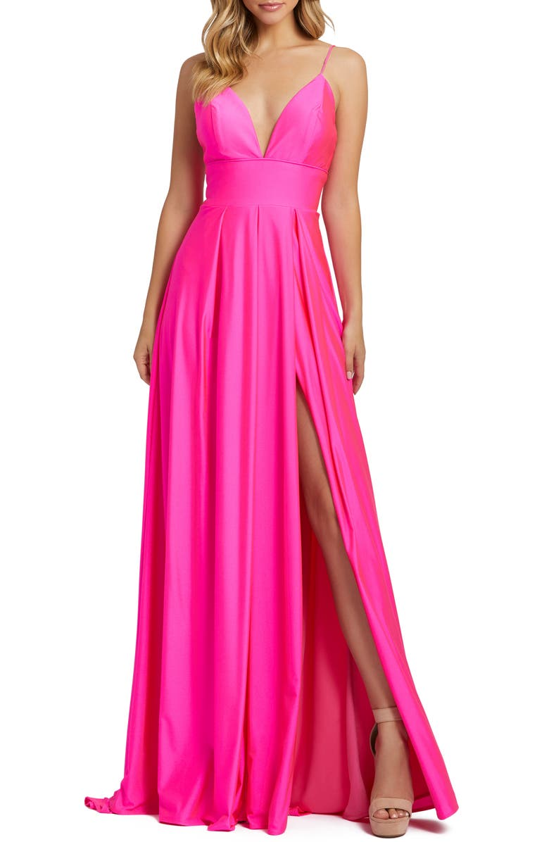 MAC DUGGAL Plunge Neck Pleated Gown, Main, color, ELECTRIC PINK