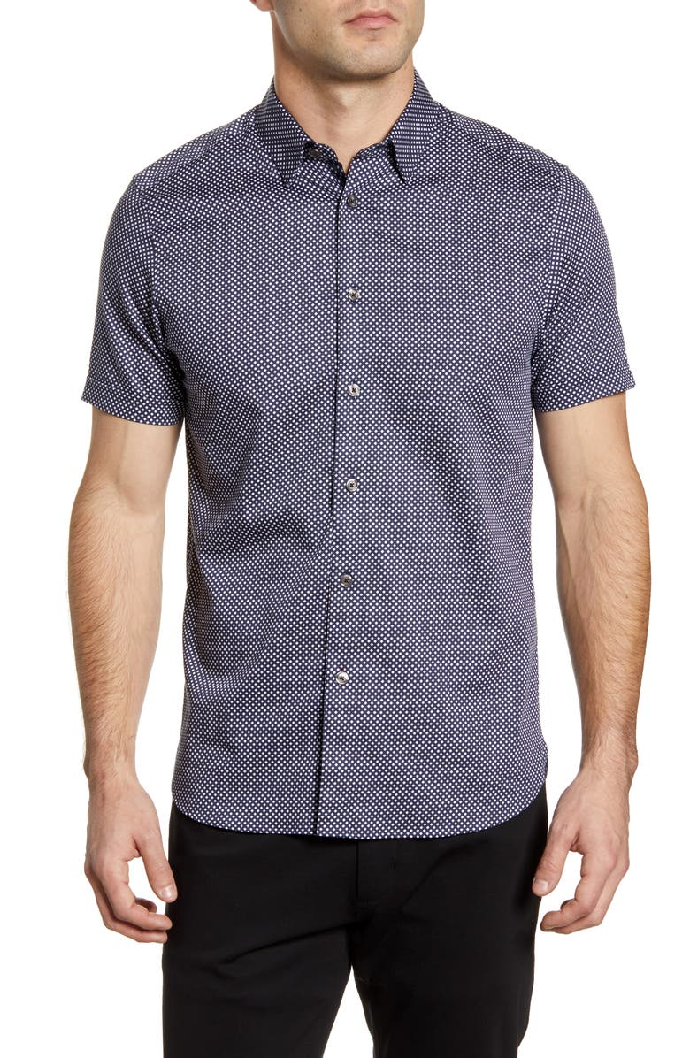 TED BAKER LONDON Norjas Slim Fit Short Sleeve Button-Up Shirt, Main, color, 410