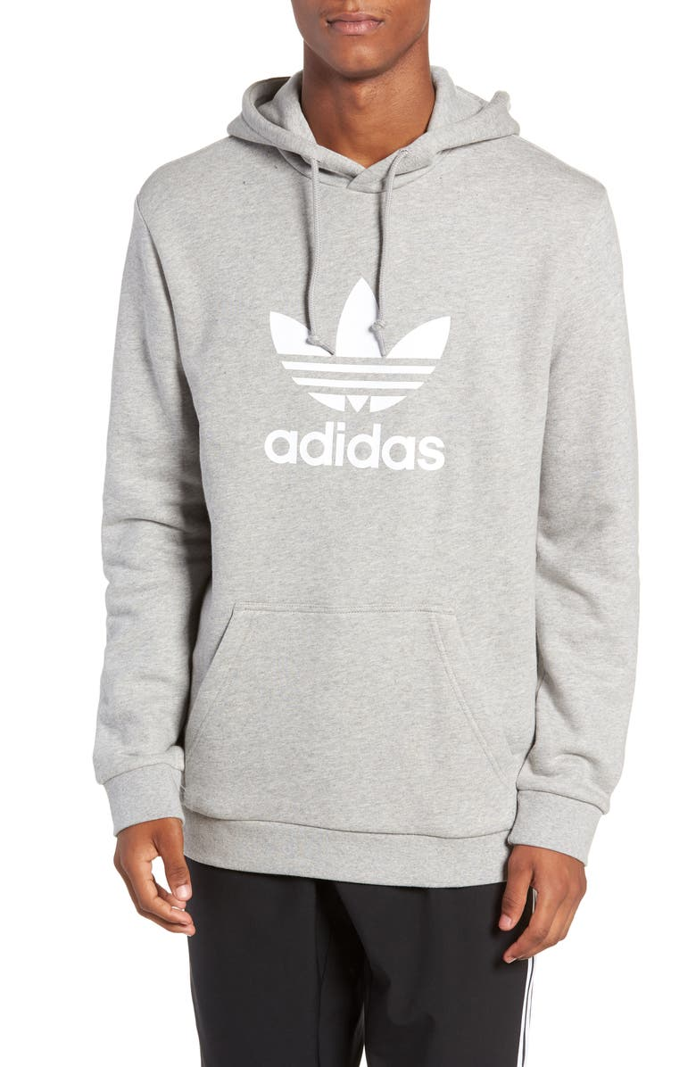 ADIDAS ORIGINALS Trefoil Hoodie, Main, color, MEDIUM GREY HEATHER