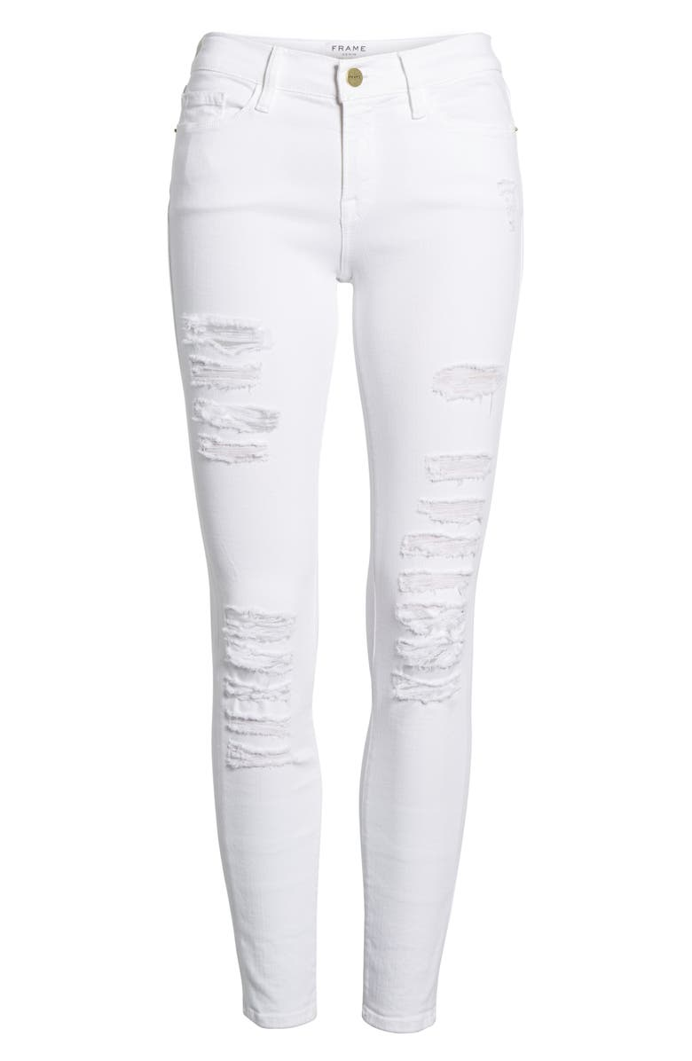 FRAME Le Color Rip Skinny Jeans, Main, color, 101