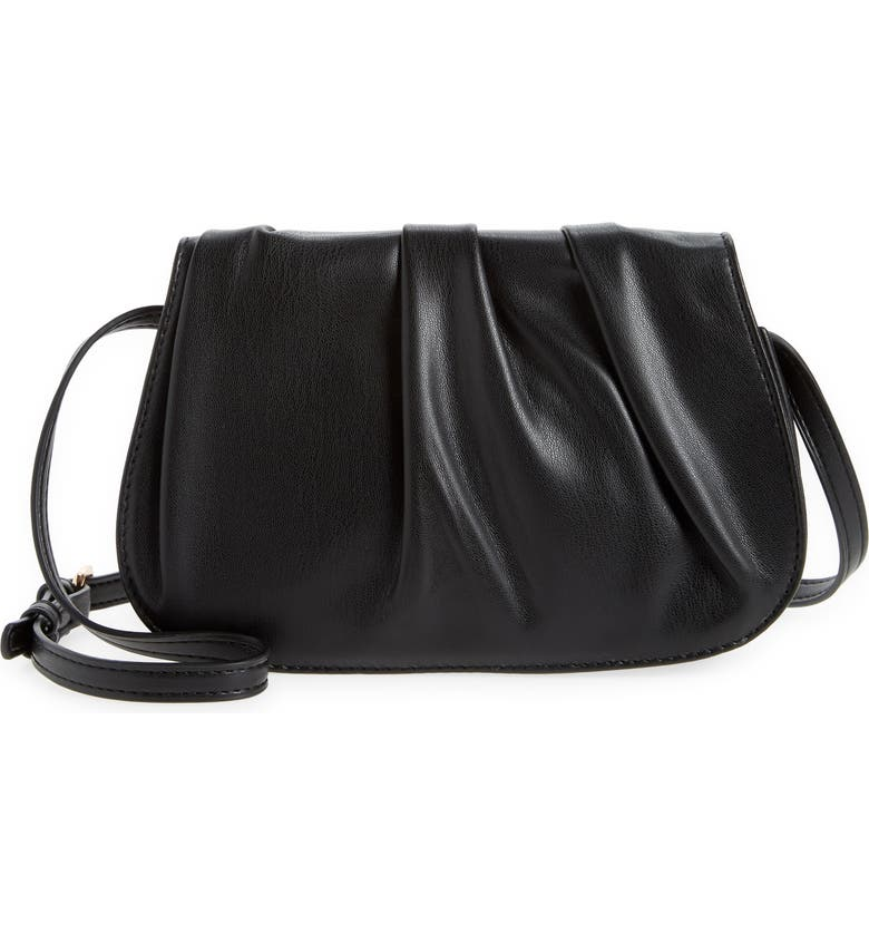 STREET LEVEL Gathered Faux Leather Crossbody Bag, Main, color, 001