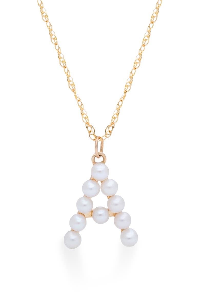 STONE AND STRAND Pearl Initial Pendant Necklace, Main, color, YELLOW GOLD/ A