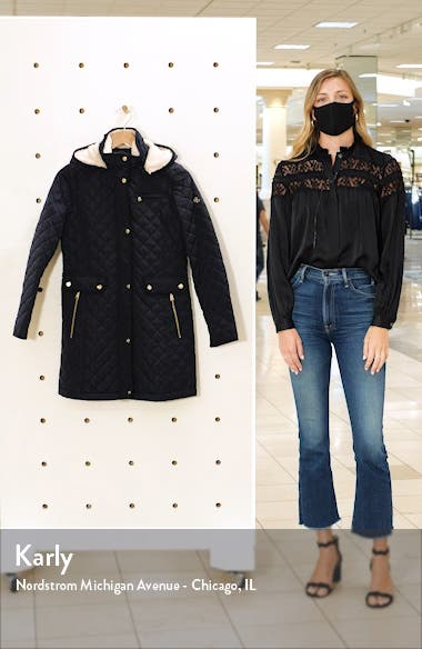 Quilted Coat with Faux Shearling Lining, sales video thumbnail