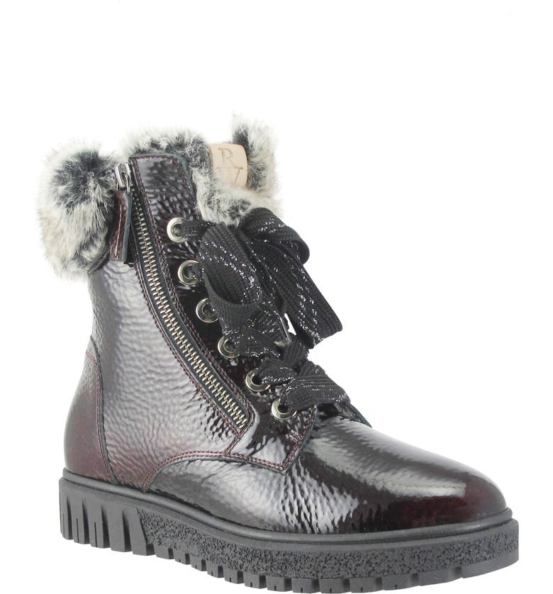 RON WHITE Isla Waterproof Crinkled Boot with Faux Fur Lining, Main, color, MULBERRY