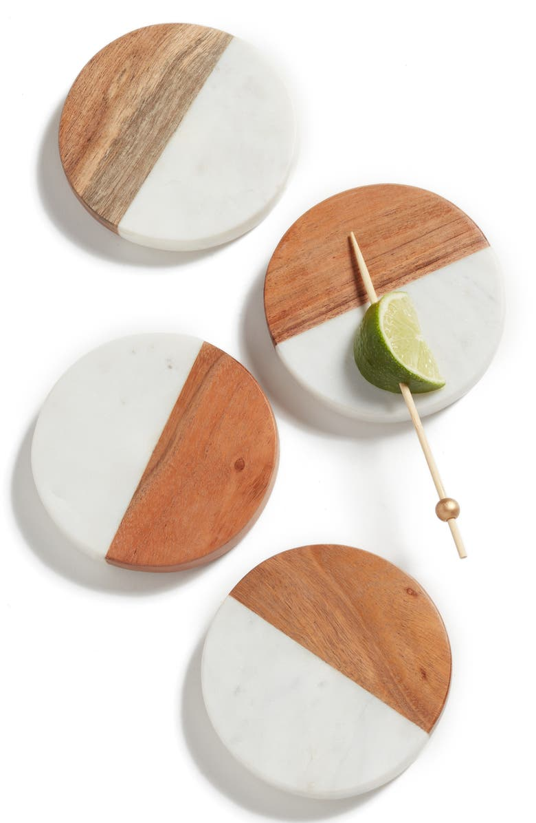 NORDSTROM at Home Set of 4 Wood & Marble Coasters, Main, color, WHITE MULTI