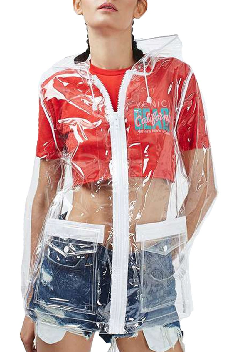 TOPSHOP Clear Plastic Rain Jacket, Main, color, 000
