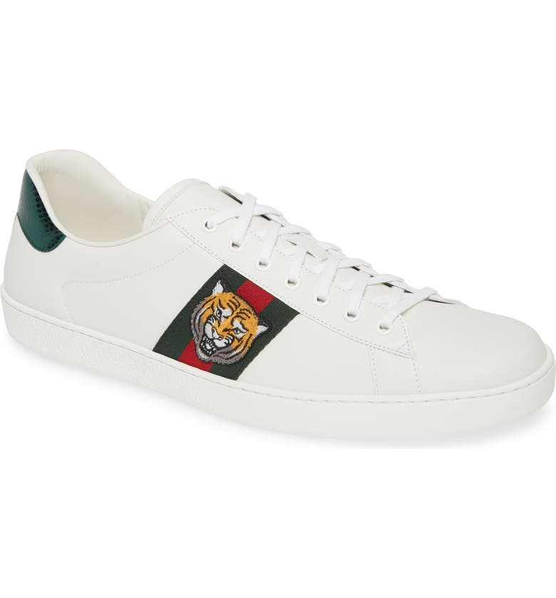 GUCCI New Ace Low Top Sneaker, Main, color, WHITE