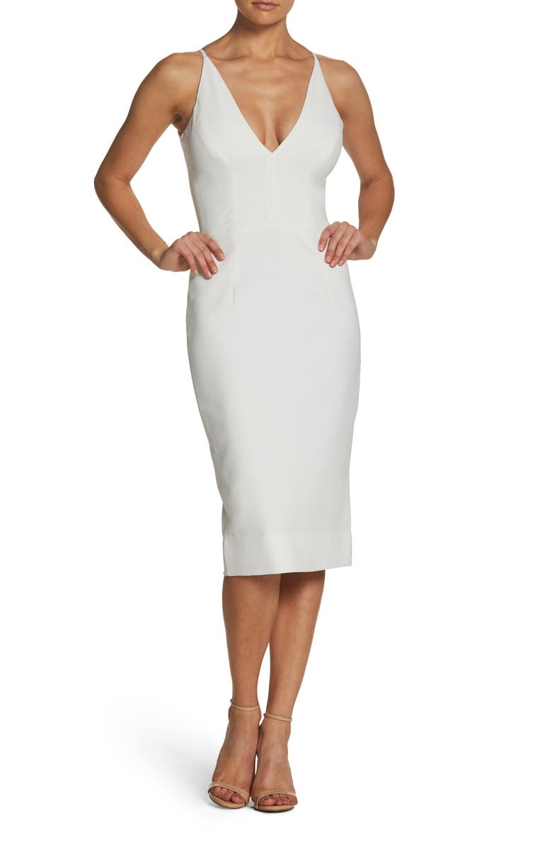 DRESS THE POPULATION Lyla Crepe Cocktail Dress, Main, color, OFF WHITE