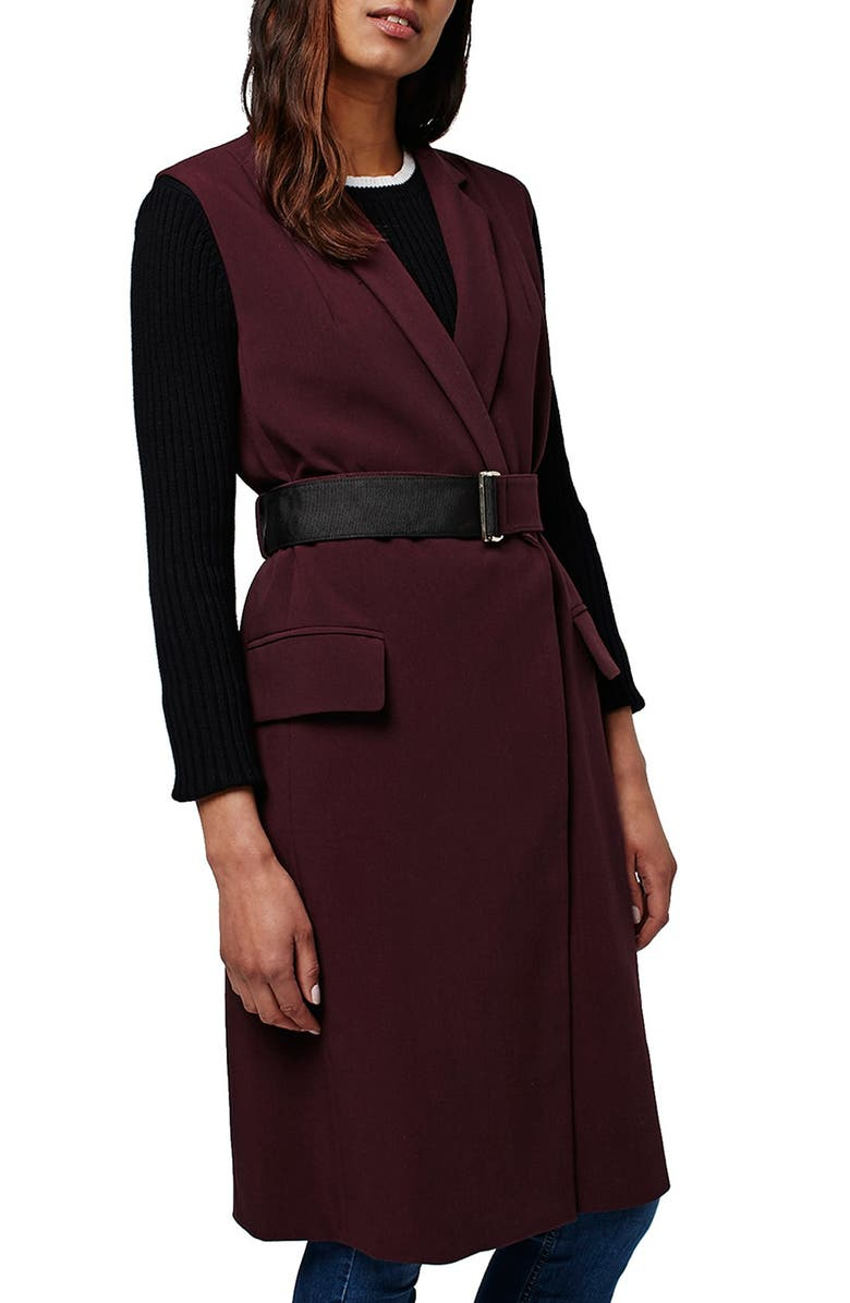 TOPSHOP Sleeveless Belted Coat, Main, color, 930