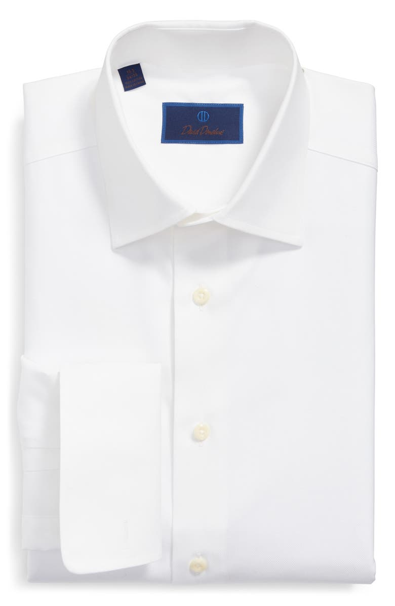 DAVID DONAHUE Regular Fit Texture French Cuff Cotton Dress Shirt, Main, color, WHITE
