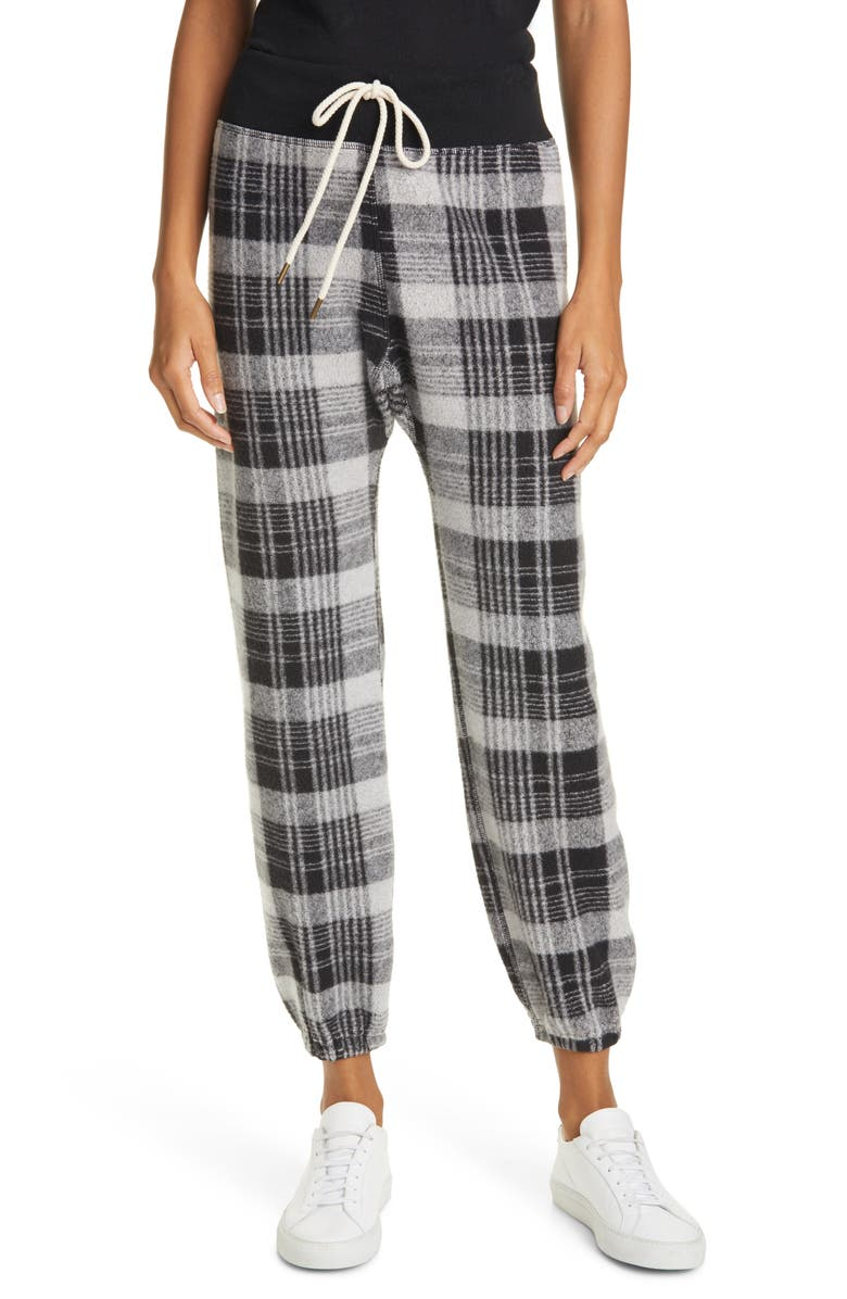 THE GREAT. The Warm Up Sweatpants, Main, color, BLACK LUMBER PLAID